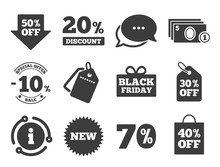 Shopping, Black Friday And Cash Money Signs. Discount Offer Tag, Chat, Info Icon. Sale Discounts Icon. 10, 20, 50 And 70 Percent Off. Special Offer Symbols. Classic Style Signs Set. Vector
