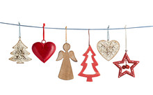 Hanging Vintage Christmas Decorations On String Isolated On White
