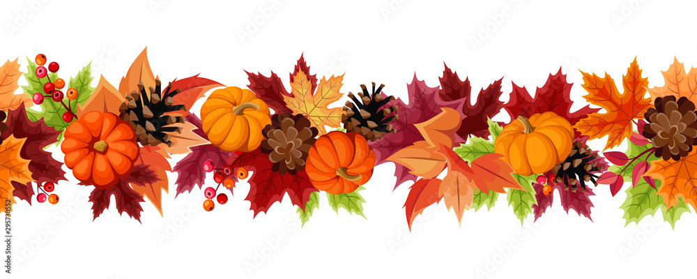 Fototapety, obrazy: Vector horizontal seamless background with orange pumpkins, pinecones and colorful autumn leaves.