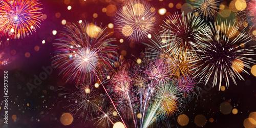 Pinturas sobre lienzo  Colorful firework with bokeh background
