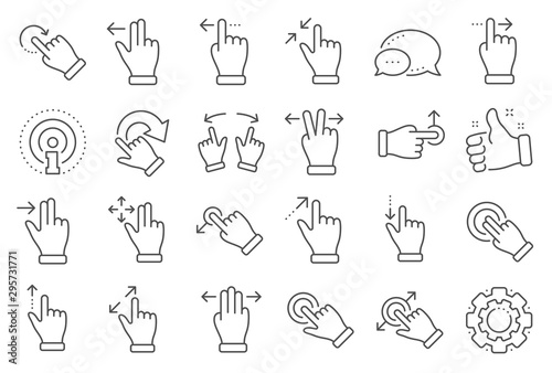 Touchscreen gesture line icons. Hand swipe, Slide gesture, Multitasking icons. Touchscreen technology, tap on screen, drag and drop. Smartphone mobile app or user interface. Line signs set. Vector