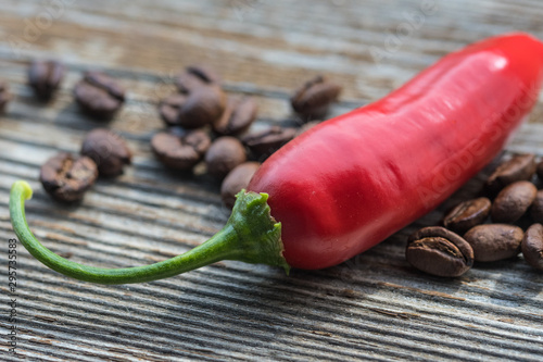red chili with coffee beans