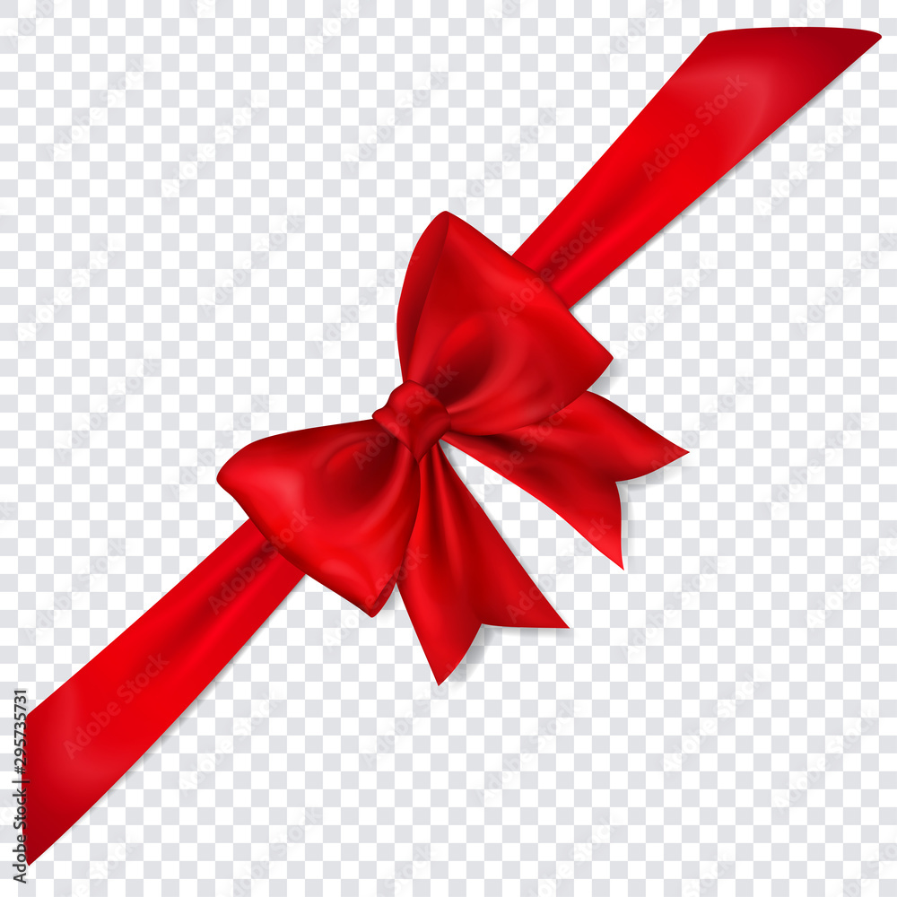Fototapeta Beautiful red bow with diagonally ribbon with shadow on transparent background
