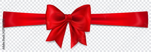 Fotografie, Tablou Beautiful red bow with horizontal ribbon with shadow on transparent background
