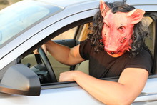 Scary Beast Driving A Car