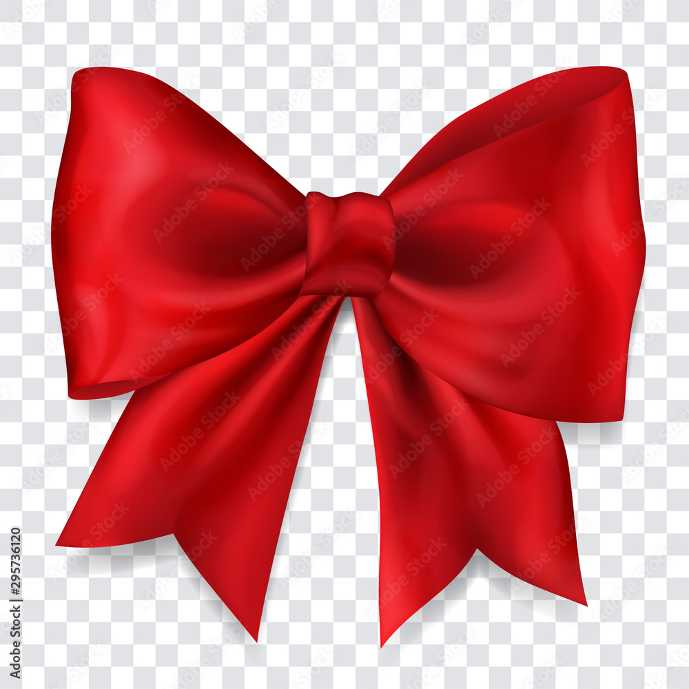Fototapeta Beautiful big bow made of red ribbon with shadow on transparent background