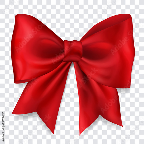 Fotografía Beautiful big bow made of red ribbon with shadow on transparent background