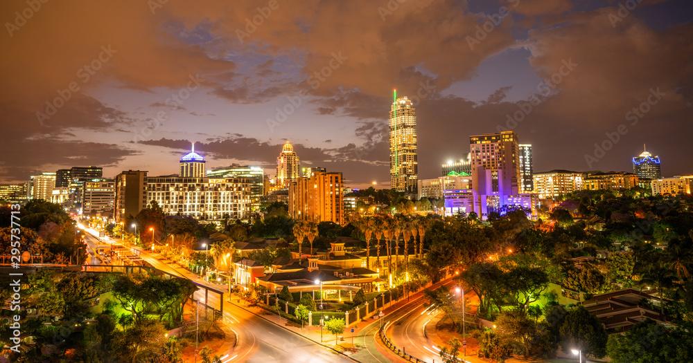 Fototapety, obrazy: Sandton Johannesburg  illuminated at night