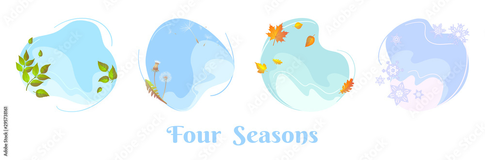 Fototapety, obrazy: Four seasons sky round concepts. Spring foliage, summer dandelion blowball, autumn leaf, winter snowflakes. Flat design template for seasonal sale banner, calendar, poster. Isolated circle frames