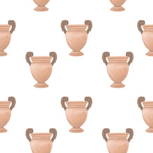 Cartoon Illustration Hand Drawn Pattern With Antique Vases. Vintage Clip Art. Watercolor Brush. Rome