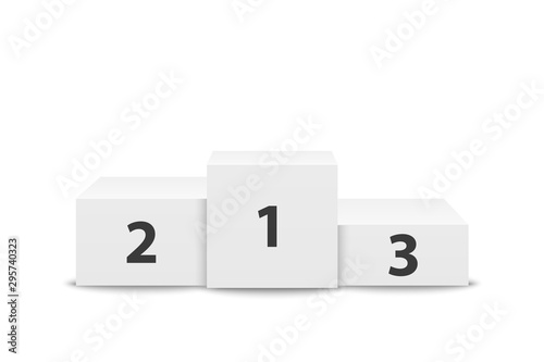 Leinwand Poster Realistic Vector 3d White Winners Podium Closeup Isolated on White Background
