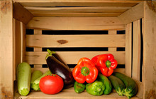 Old Wooden Fruit Box With Freshly Picked Fresh Vegetables