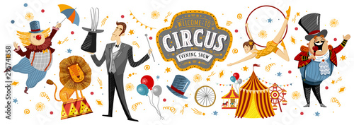 Obraz Circus! Vector illustrations on a poster or banner for a circus show with gymnast, magician, animal lion, host, entertainer and clowns, isolated objects and elements Welcome to the show! - fototapety do salonu