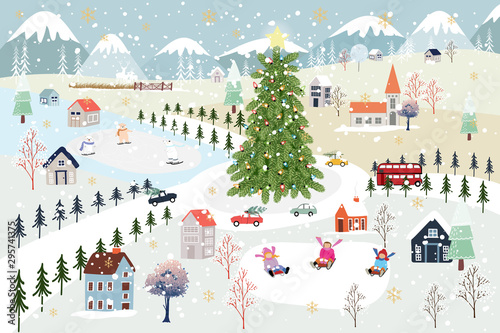 Foto auf AluDibond Licht blau Panoramic of winter landscape,Vector of horizontal banner of winter wonderland in village with snow covering,house,moutain,tree and polar bear and kids playing ice skates,Merry Christmas background