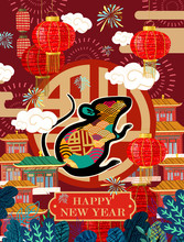Happy Chinese New Year. 2020 Is The Year Of The Rat. Asian Woman In Kimono Holds Santa Claus Mouse In Korean Or Japanese Background. Vector Illustration For Card, Poster Or Banner.