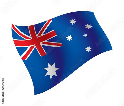 Australia flag waving isolated vector illustration