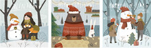 Merry Christmas And A Happy New Year! Cute Vector Illustrations With Characters, Family, Animals And A Snowman For The Winter Holidays For A Card, Background Or Poster.