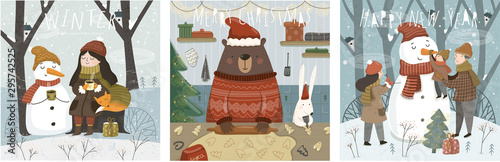 Merry Christmas and a happy new year! Cute vector illustrations with characters, family, animals and a snowman for the winter holidays for a card, background or poster. - 295742525