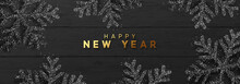 Christmas Background With Shining Black Snowflakes. Texture Of Flat Boards And Wood. Happy New Year Lettering, Horizontal Banner, Poster, Website Header, Greeting Card. Vector Illustration.