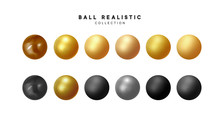 Set Of 3d Render Balls. Round ...