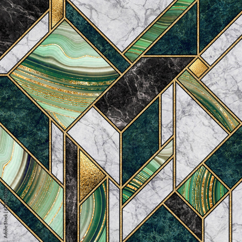 Canvas Prints Geometric modern abstract marble mosaic background, art deco wallpaper, artificial stone texture, green gold marbled tile, geometrical fashion marbling illustration