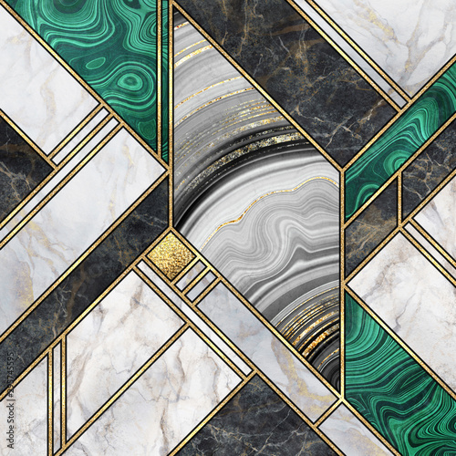 Canvas Prints Geometric abstract background, modern marble mosaic, art deco wallpaper, artificial malachite agate stone texture, black white gold marbled tile, geometrical fashion marbling illustration