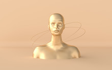 Female Golden Mannequin Head 3...