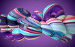 canvas print picture Colorfull dynamic abstract soft twisted glass shape, paint splash. 3d render vawe, spiral. Computer generated geometric illustration