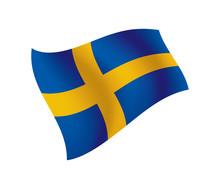 Sweden Flag Waving Isolated Vector Illustration