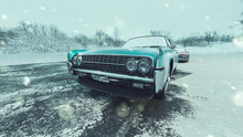 Classic Blue Cars And Snowy Se...