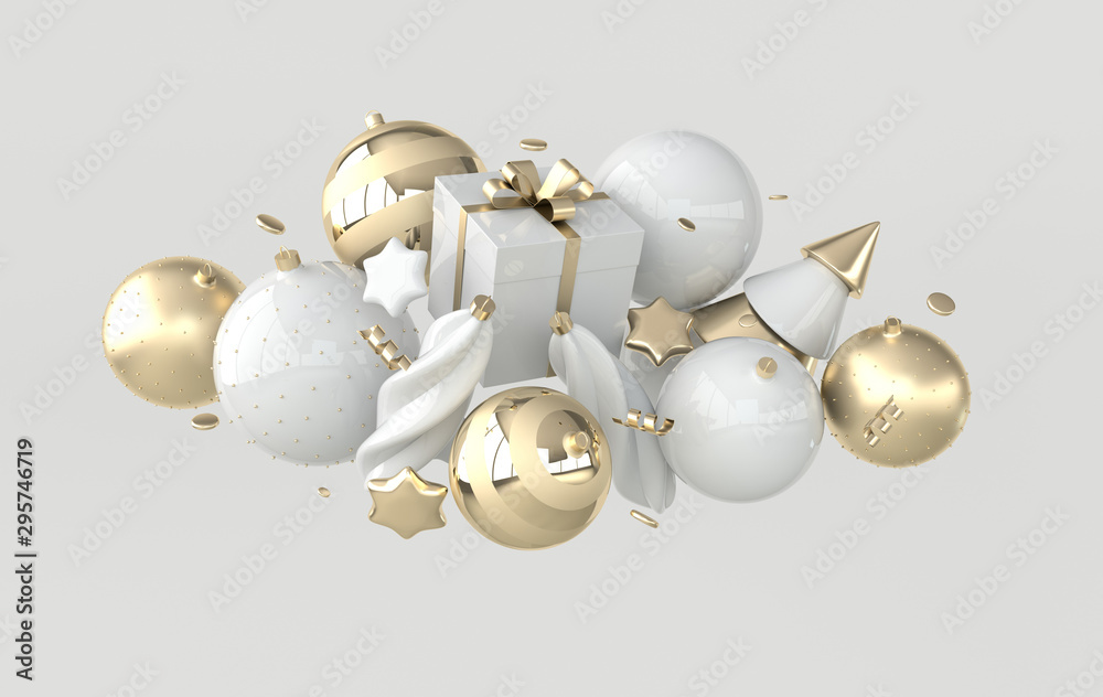 Fototapety, obrazy: Merry Christmas and Happy New Year 3d render illustration card with white and golden xmas balls, stars, christmas tree, gift box, confetti. Winter decoration, xmas minimal design
