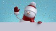 Christmas greeting card mockup. 3d snowman waving hand, holding blank banner. Winter holiday background with gold confetti. Happy New Year. Funny festive character.