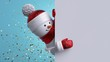 Christmas background. 3d snowman holding white board. Winter holiday blank banner template. Happy New Year greeting card mockup. Funny festive character.