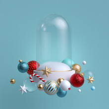 3d Christmas Background. Glass...