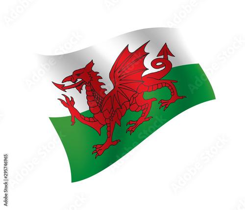 Cuadros en Lienzo Wales flag waving isolated vector illustration