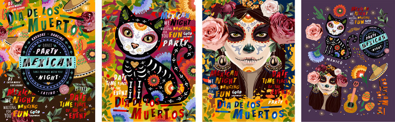 Día de los Muertos, Mexican holiday Day of the Dead and Halloween. Vector illustration of a woman with sugar skull makeup - Calavera Catrina, cat, flowers and mexican objects for poster or background