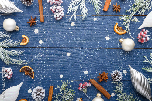 Canvastavla  Christmas composition, frame, snow-covered branches of a Christmas tree
