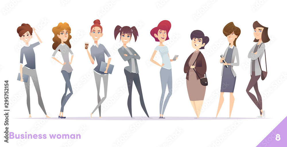 Fototapeta Business women character design collection. Professional females stand together.