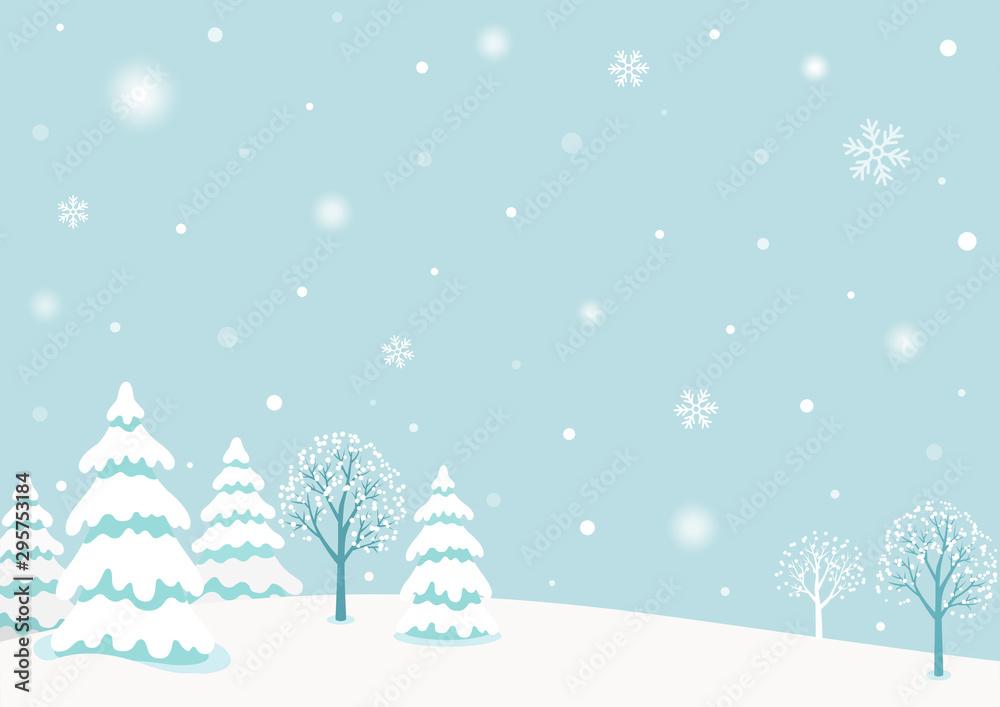 Fototapety, obrazy: Snowy winter forest landscape background