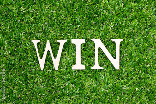Wood letter in word win on green grass background Wallpaper Mural