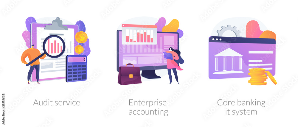 Fototapeta Financial analysis icons set. Company analysts, accountants cartoon characters. Audit service, enterprise accounting, core banking it system metaphors. Vector isolated concept metaphor illustrations