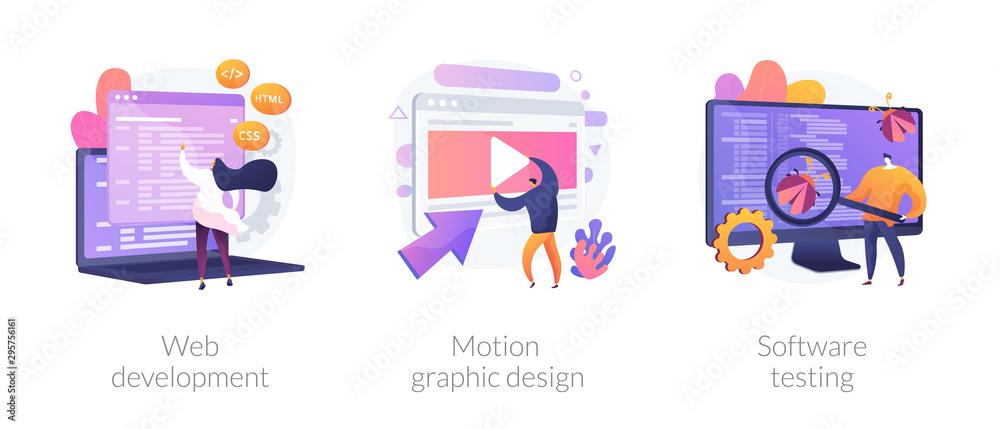 Fototapeta Website programming and coding. Computer animation designer. Bug fixing. Web development, motion graphic design, software testing metaphors. Vector isolated concept metaphor illustrations
