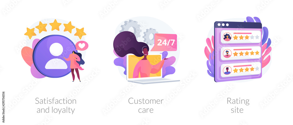 Fototapeta Website ranking icons cartoon set. Desktop chat messages. Technical support, hotline. Satisfaction and loyalty, customer care, rating site metaphors. Vector isolated concept metaphor illustrations