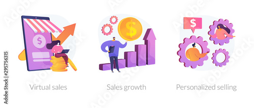 Fototapeta Marketing strategy planning web icons cartoon set. Commerce income analysis. Virtual sales, sales growth, personalized selling metaphors. Vector isolated concept metaphor illustrations obraz
