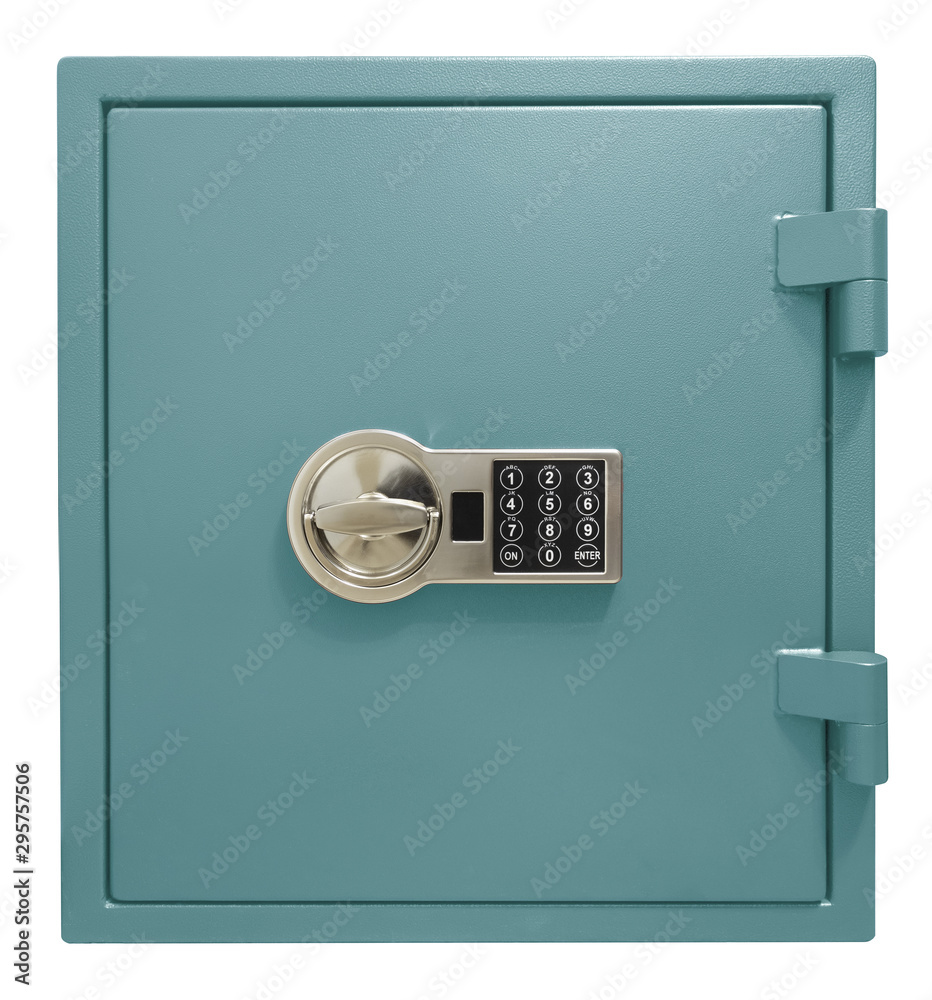 Fototapeta Small blue safe box isolated with clipping path included