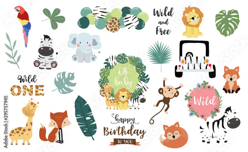 fototapeta na lodówkę Safari object set with fox,giraffe,zebra,lion,leaves,elephant. illustration for logo,sticker,postcard,birthday invitation.Editable element