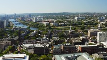 High Aerial Of Cambridge, View Of Harvard University, Famous Destination Of Massachusetts, City Of Students, Travel To Northeast Of USA