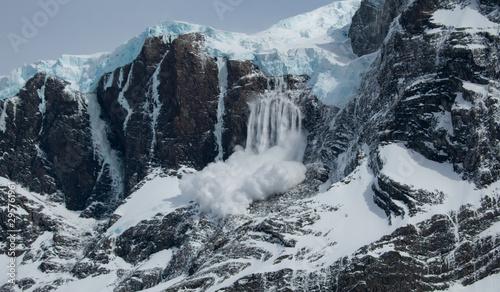 Avalanche on Paine Grande at Mirador Britancio Torres del Paine National Park, P Fototapet