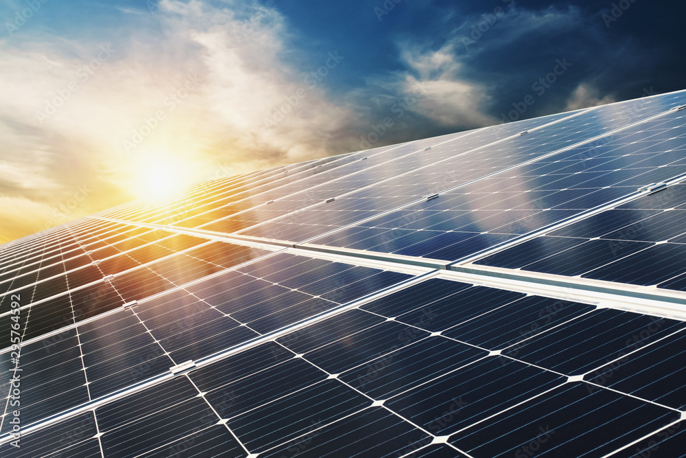Fototapeta Solar panel with blue sky and sunset. concept clean energy, electric alternative, power in nature