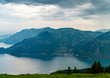 Switzerland, Panoramic view on green Alps and lake Lucerne near Gersau village